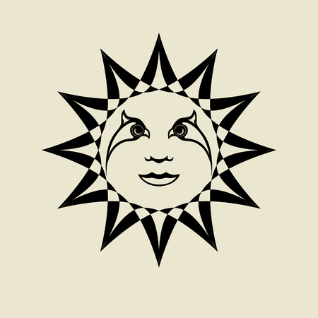 pagan: The sun with a human face. Picture in antique style. Pagan symbolism.