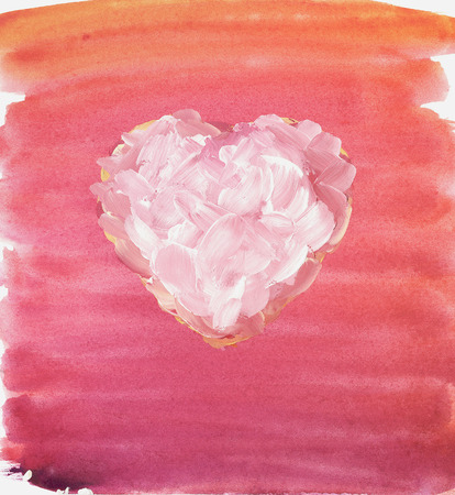pastiche: Stylized heart. Watercolor and gouache. Freehand drawing.