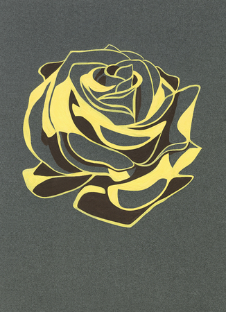 pastiche: Stylized rosebud. Gouache on gray paper. Freehand drawing.