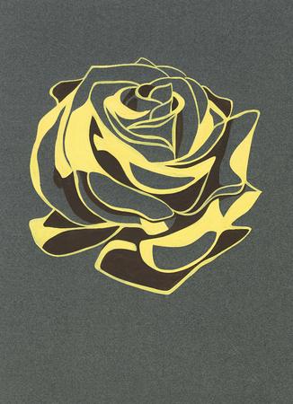 rosebud: Stylized rosebud. Gouache on gray paper. Freehand drawing.