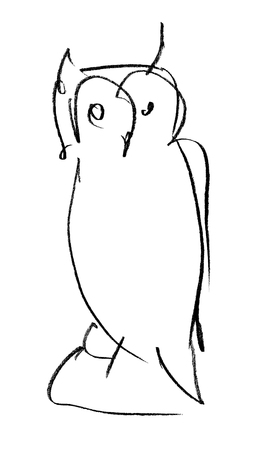 quick drawing: Owl. Quick pencil sketch. Rapidly executed freehand drawing. Stock Photo