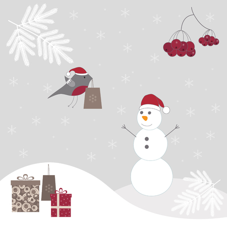 Christmas background with snowman. Vector
