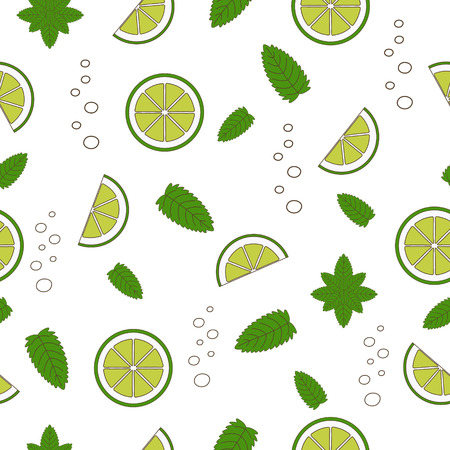 Cocktail Mojito seamless pattern. Vector illustration. Hand drawn illustration.Nature organic style. Vector