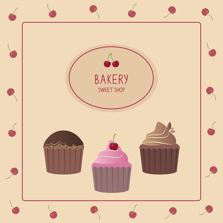 Cute card with cupcakes. Vector illustration. Template design. Vector