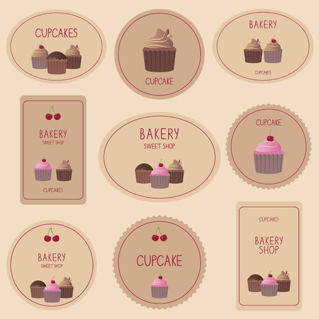 Set of bakery labels and cards for design. Vector collection of decorative sweet cupcakes. Vector