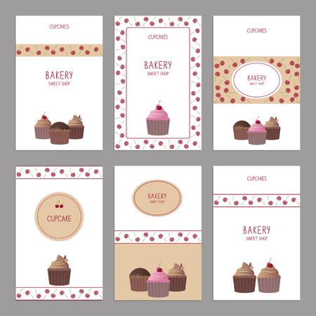Cute set of cards with cupcakes. Vector illustration. Template design. Vector
