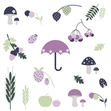 Autumn vector elements for design. Vector collection. Hand draw autumn elements. Kids illustration. Illustration