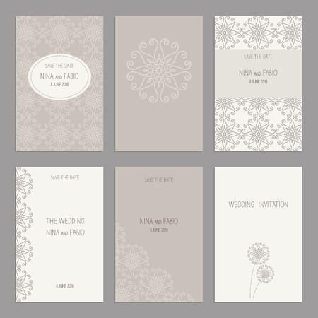 ard: Vector Set of of vintage cards  templates. Wedding invitation сard, thank you card, save the date cards.  RSVP card. Original design of wedding cards.
