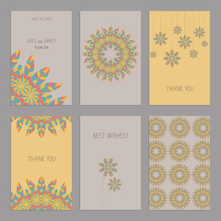indio americano: Vector Conjunto de plantillas de tarjetas de la vendimia en estilo indio americano �tnico. Invitaci�n? Ard boda, tarjeta de agradecimiento, las tarjetas de fecha. Tarjeta de RSVP. El dise�o original de las tarjetas de boda. Indio Americano, motivos africanos.