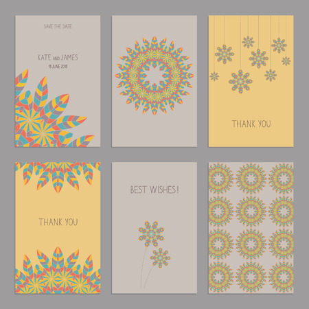 ard: Vector Set of of vintage cards  templates in ethnic American Indian style. Wedding invitation сard, thank you card, save the date cards.  RSVP card. Original design of wedding cards. American Indian, African motifs.