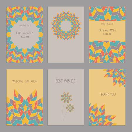American Indian: Vector Conjunto de plantillas de tarjetas de la vendimia en estilo indio americano �tnico. Invitaci�n? Ard boda, tarjeta de agradecimiento, las tarjetas de fecha. Tarjeta de RSVP. El dise�o original de las tarjetas de boda. Indio Americano, motivos africanos.