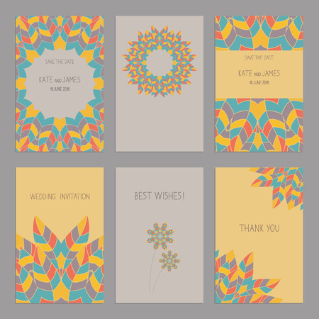 american vintage: Vector Set of of vintage cards  templates in ethnic American Indian style. Wedding invitation сard, thank you card, save the date cards.  RSVP card. Original design of wedding cards. American Indian, African motifs.