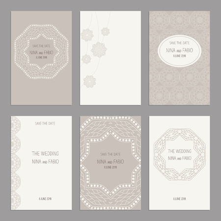 ard: Vector Set of of vintage cards  templates. Wedding invitation ?ard, thank you card, save the date cards.  RSVP card. Original design of wedding cards. Illustration