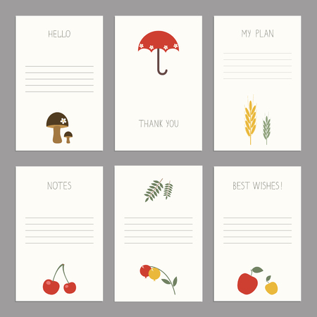 childishly: Vector Set of of vintage cards  templates. Template for scrapbooking, diary, notebooks. Thank you card,  save the date cards. Hand draw autumn vector elements for design. Kids illustration. Illustration
