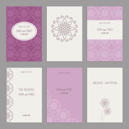 ard: Vector Set of of vintage cards  templates. Wedding invitation ?ard, thank you card, save the date cards.  RSVP card. Original design of wedding cards. Illustration