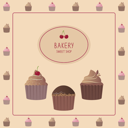 raisin: Cute card with cupcakes. Vector illustration. Template design.