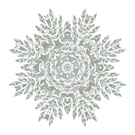 ethnicity: Mandala. Ethnicity floral round ornament. Circular ornament in ethnic style. Floral elements for invitation card. Illustration