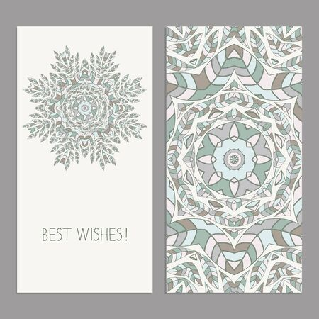 Greeting cards templates with floral motifs. Oriental pattern.