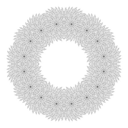christmas motive: Mandala. Christmas wreath. Coloring page. Ethnicity floral round ornament. Circular ornament in ethnic style. Floral elements. Monochrome oriental pattern. Arabic, Islamic, Indian,motifs. Coloring Book.