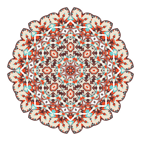 Mandala, Ethnicity round ornament, Oriental circular pattern and Arabic, Islamic, Moroccan, Asian, Indian native African motifs for invitation cards, brochures, covers.