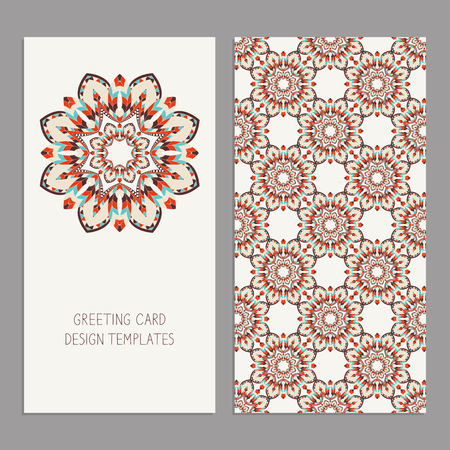 african business: Templates for greeting and business cards, brochures, covers with floral motifs. Oriental pattern. Mandala. Wedding invitation, save the date, RSVP. Arabic, Islamic, asian, indian, african motifs. Illustration