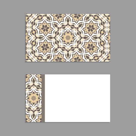 Templates for greeting and business cards, brochures, covers with wooden motifs. Oriental pattern. Mandala. Invitation, save the date, RSVP. Arabic, Islamic, turkish, asian, indian, african motifs.