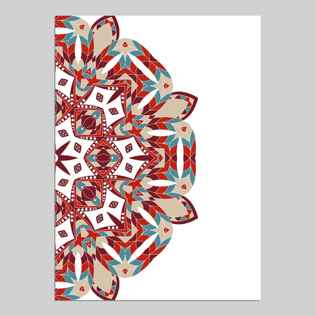 Template for greeting and business cards, brochures, covers. Oriental pattern. Mandala. Wedding invitation, save the date, RSVP. Arabic, Islamic, moroccan, asian, indian, african motifs.