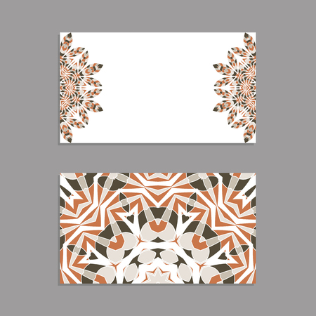 Templates for greeting and business cards, brochures, covers with floral motifs. Oriental pattern. Mandala Vector illustration.