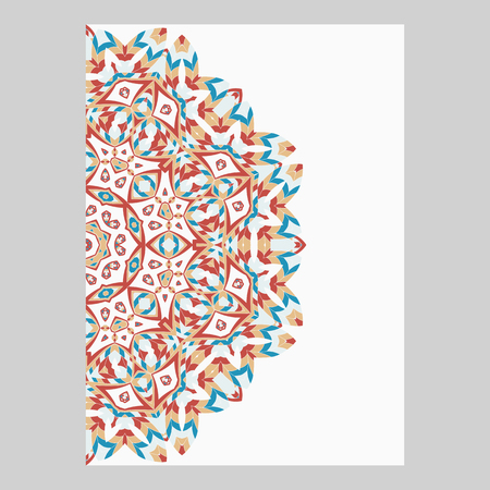 Template for greeting and business cards, brochures, covers. Oriental pattern. Mandala. 矢量图像