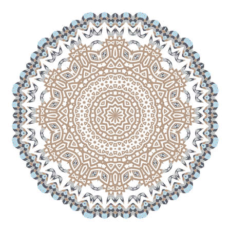 Mandala. Ethnicity round ornament. Ethnic style. Elements for invitation card. Oriental circular pattern, lace background. Cards, brochures, covers. Arabic, Islamic, asian, indian native african motifs. Vector Illustration
