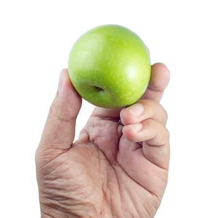 green apples: Green Apples in Hand isolate white background