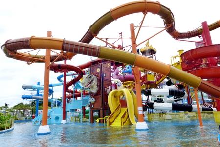 circular blue water ripple: PATTAYA, Thailand - July 18, 2015: The Cartoonival zone in Cartoon Network Amazone Water Park, the best of water park and major tourist attraction of PATTAYA, it near Bangkok. Editorial
