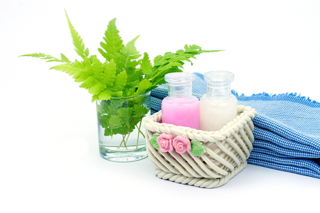 shower gel: Shampoo and Shower gel put in ceramic basket on white background. Shampoo, Shower gel bottles with blue cloth and green leaves in a glass of water.
