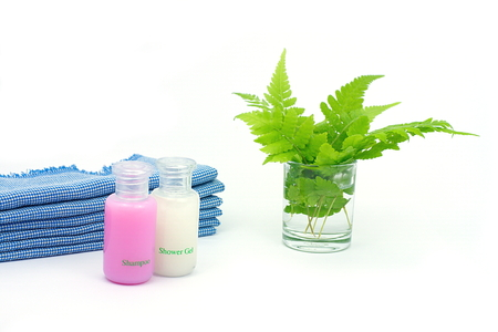 shower gel: Shampoo and Shower gel on white background. Shampoo, Shower gel with blue cloth and green leaves in a glass of water.