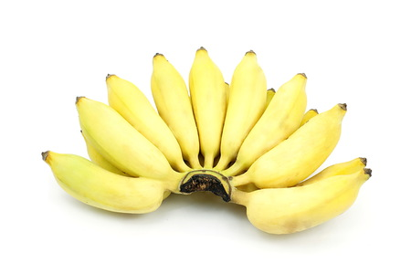 banana: Asian Cultivate banana. Yellow asian banana on isolate white background. Pisang Awak banana, Thai name is Kluai Nam Wa.