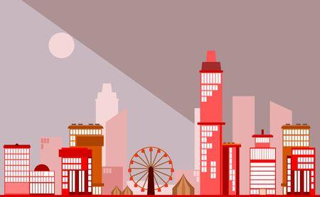 Modern urban landscape with Ferris wheel in night theme vector illustration Illustration