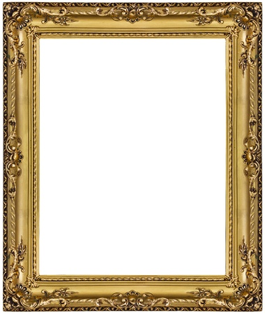 baroque picture frame: gold picture frame. isolated on white