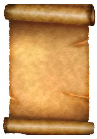rolled scroll: Antique paper scroll on white background