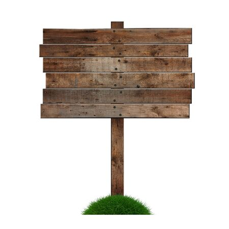 Old wooden billboard on the grass isolated on white background photo