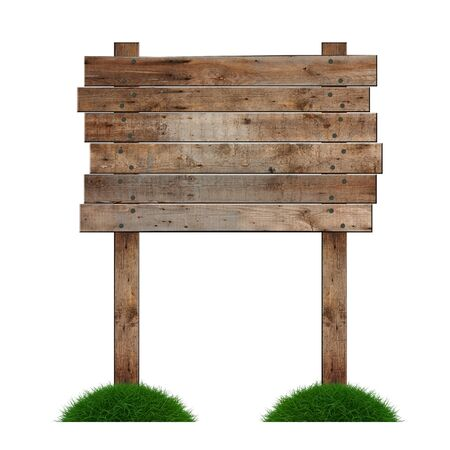 Old wooden billboard on the grass isolated on white background Stock Photo - 9737356