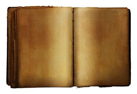 Öffnen Sie alte Buch auf weißem Hintergrund Standard-Bild