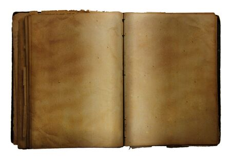 Open old book on white background photo