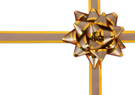 Gold bow and ribbon, isolated on white   photo