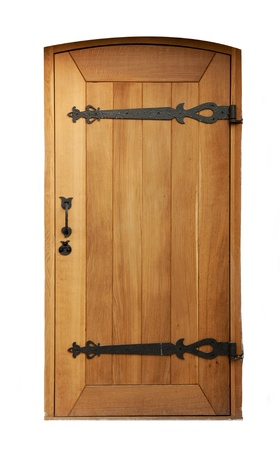 wooden door with wrought iron elements isolated on white background photo