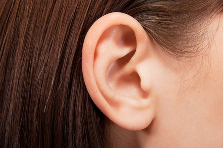 Human ear closeup photo