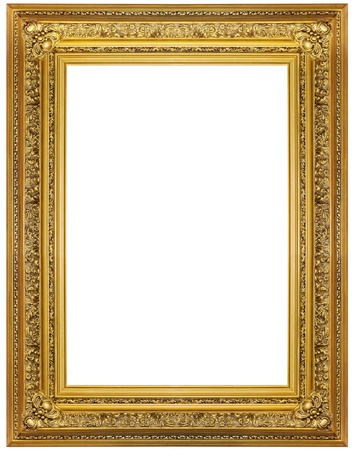 rectangle frame: gold picture frame. isolated on white