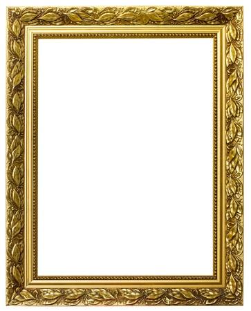ornate gold frame: marco oro. aislados en blanco