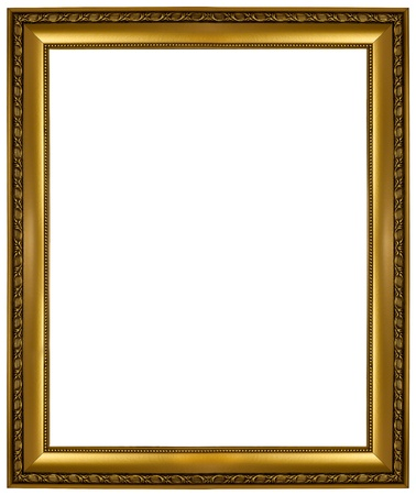 wood carving: gold picture frame. isolated on white