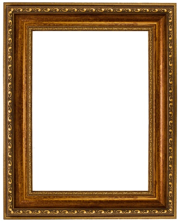 square cut: gold picture frame. isolated on white