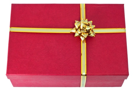 Rad gift with the golden ribbon. isolated on white. Stock Photo - 9818897